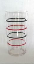 "Swanky Swig Glass 4 12"" Tall; 1930's Kraft Cheese; Black/Red Stripe Patt... - $7.95"