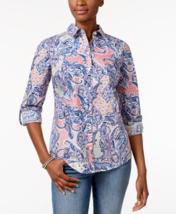 Charter Club Petite Cotton Paisley-Print Shirt in Peach Blush, size 4 Petite - $26.72