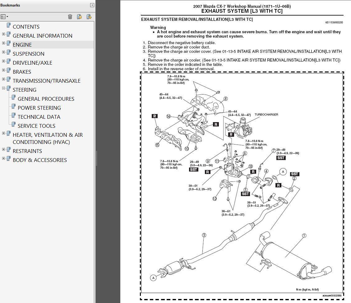 2007-2009 Mazda Cx-7 2 3l Turbo Factory Repair Service Manual
