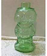 Vintage Indiana Glass Jolly Mountaineer Green Glass Old Man Decanter Vas... - $24.00
