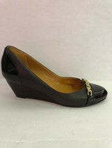 Cole Haan Brown Leather Patent Leather Cap Toe Wedge Shoes Size 7.5 NWOB - $75.24
