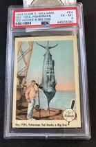 1959 Fleer Ted Williams Card #54: Dec 1954, Fisherman Ted Hooks Big One - PSA 6  - $14.80