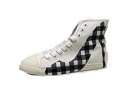 BE&D by Maison Dumain White Canvas and Navy Blue Plaid on the ankles wom... - $49.99