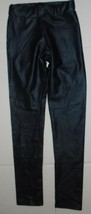 Navy Blue Juniors M Leggings Faux Leather Wet Look Back Pockets Stretch ... - $9.79