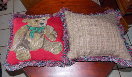 Pair of Red Beige Brown Bear Print Decorative Pillows  15 x 15 - $49.95