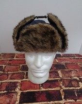 Bomber Trapper Cap Hat Blue Faux Fur Ear Flaps Size Medium M Winter Style o - $12.73