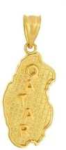 Solid 14k Yellow Gold Country Map Of Qatar Charm Pendant - $462.82