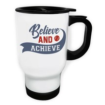 Believe And Achieve Baseball White/Steel Travel 14oz Mug j370t - $17.79
