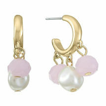 Liz Claiborne Women's Pink & White Round Bead Hoop Earrings Gold Tone New - $15.83