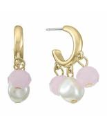 Liz Claiborne Women's Pink & White Round Bead Hoop Earrings Gold Tone New - $15.83