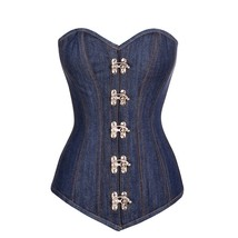 Blue Denim Gothic Burlesque Basque Waist Training Bustier LONG Overbust ... - $69.29+