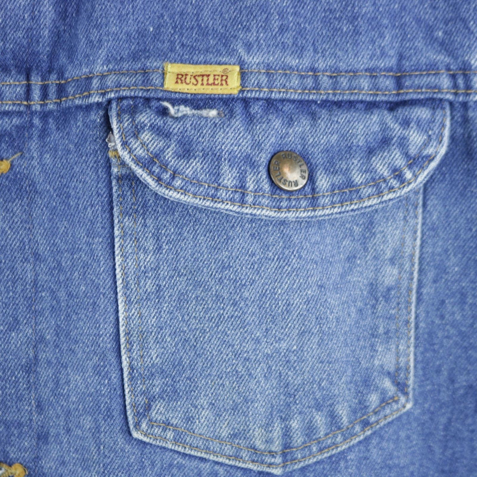 11a2389d16a ... The Doors Blue Jean Jacket Denim Trucker Jim Morrison Rustler Made in  USA XLARGE ...