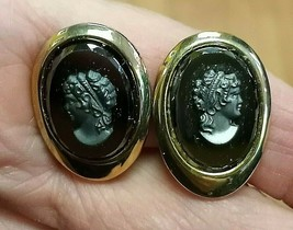 Vintage Sarah Coventry Cameo Brass & Hematite Clip On Earrings - $18.56