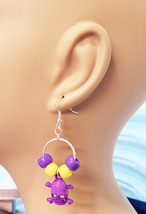 day of the dead hoop earrings purple skull dangles goth bead handmade je... - $2.99