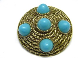 Beautiful Faux Turquoise and gold tone Pin Vintage Jewelry - $14.09