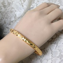 Elegant, Gold, 1/3-inch W -Etched Floral Design Size M-L 8in C Bangle Br... - $11.35
