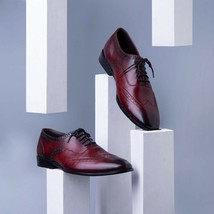 Handmade Men's Burgundy Color Wing Tip Dress/Formal Oxford Leather Shoes image 3