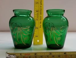 Vintage 1957-65 Anchor Hocking Forest Green Bud Vase Gold Leaf Trim - $19.99