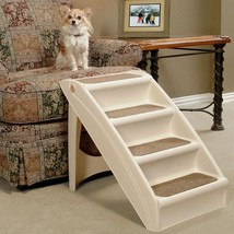 Pet Stairs Folding 4 Step Dog Ramp Portable Easy Non Skid Ladder Beige - $65.75