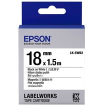 18mm Black on White - Epson LABELWORKS LK-5WB2 Magnetic Tape Cartridges ... - $108.99