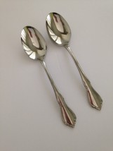 "Two-2- Oneida craft Deluxe ""CHATEAU"" Stainless Oval Soup Spoons - $10.39"