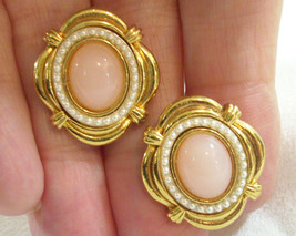 Ornate Pale Pink Oval Cab Tiny Pearls Clip Earrings Gold Plate Vintage E... - $13.81