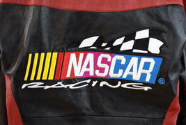 Vtg 90s Nascar Racing Soft Black & Red Luxe Leather Retro Bomber Jacket Mens S image 9