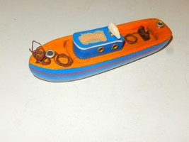 "WOODEN SEASHORE ACCESSORY -BLUE BOAT- 6"" LONG - GOOD  - H14 - $2.29"