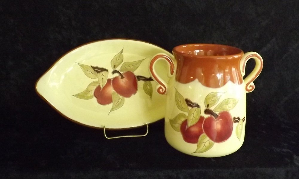 Applesauce Crock Jar with Plate Russ Burrie Company Handmade and Hand-painted