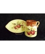 Applesauce Crock Jar with Plate Russ Burrie Company Handmade and Hand-pa... - $24.99