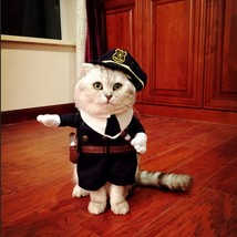 Gomaomi Pet Costume Policeman Style Dog Jeans Clothes Cat Funny Apperal  - $16.99