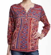New Lucky Brand Split Neck Long Sleeve Floral Print Top Sz Large Women B... - $33.87