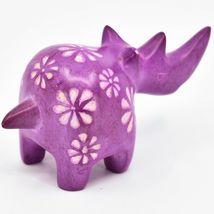 Vaneal Group Hand Carved Kisii Soapstone Fuchsia Rhinoceros Rhino Figurine image 4