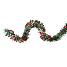 12' Holographic Red, Green and Silver Christmas Tinsel Garland - tkcc - $24.95
