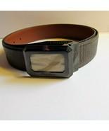 SANTONI Mens Brown Italian Leather Belt Inlay Buckle 110 cm 43-44'' wais... - $123.75