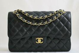 CHANEL Black CAVIAR Leather Classic Jumbo Double Flap Bag GHW AUTHENTICATED - $4,935.36
