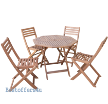 Wooden Garden Dining Set Table & 4 Chairs Folding Patio Conservatory Furniture image 2