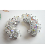 Vintage Large Aurora Borealis Crystal Glass Bead Clip Earrings Gorgeous ... - $8.50