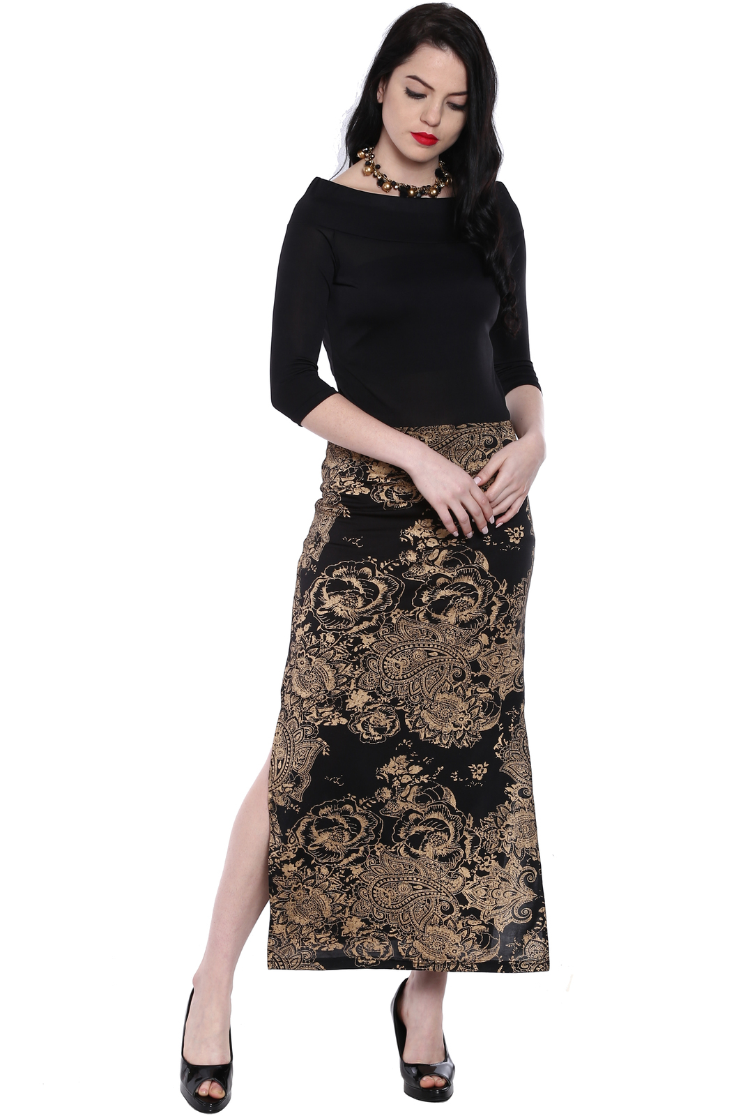 Ira Soleil Black all over printed long skirt made with polyester lycra