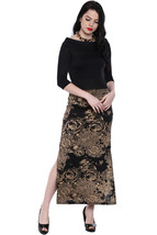 Ira Soleil Black all over printed long skirt made with polyester lycra - $49.99