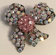 Vintage Designer signed ROM Aurora Borealis pink crystal silver plated B... - $14.00