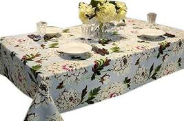 Elegant Peony Blossom Linen Table Cloth 55 By 78 Inches