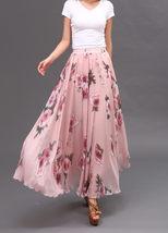 Women Pink FLORAL Chiffon Long Skirt A-line Flower Long Chiffon Skirt Summer  image 9