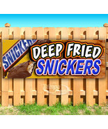 DEEP FRIED SNICKERS Advertising Vinyl Banner Flag Sign CARNIVAL FAIR FOOD - $13.53+