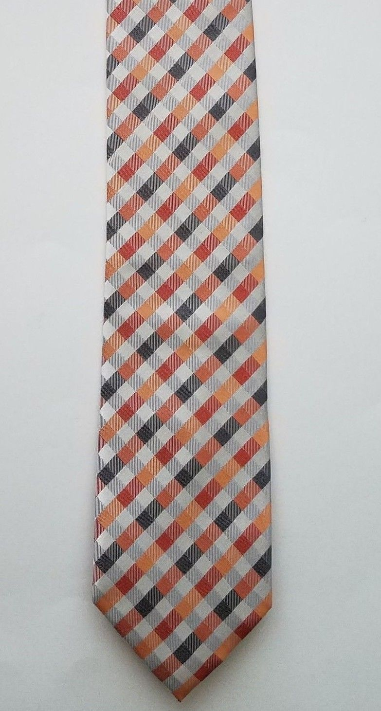 Primary image for Geoffrey Beene Polyester Blend Orange Silver Checkered Print Men's Neck Tie