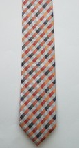 Geoffrey Beene Polyester Blend Orange Silver Checkered Print Men's Neck Tie - $18.80