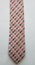 Geoffrey Beene Polyester Blend Orange Silver Checkered Print Men's Neck Tie - $18.37