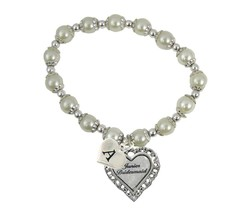 Custom White Pearl Junior Bridesmaid Heart Bracelet Jewelry Choose Initial - $13.94
