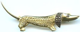 DACHSHUND Dog in Sterling Silver Gold Plated BROOCH Pin - ALICE CAVINESS - £72.26 GBP