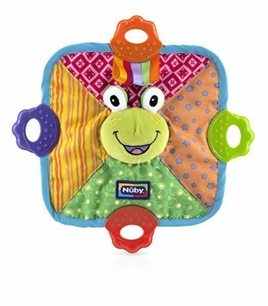 Primary image for Nuby Green Frog Teething Blankie Squeak Crinkle Comfort Teether Blanket BPA Free
